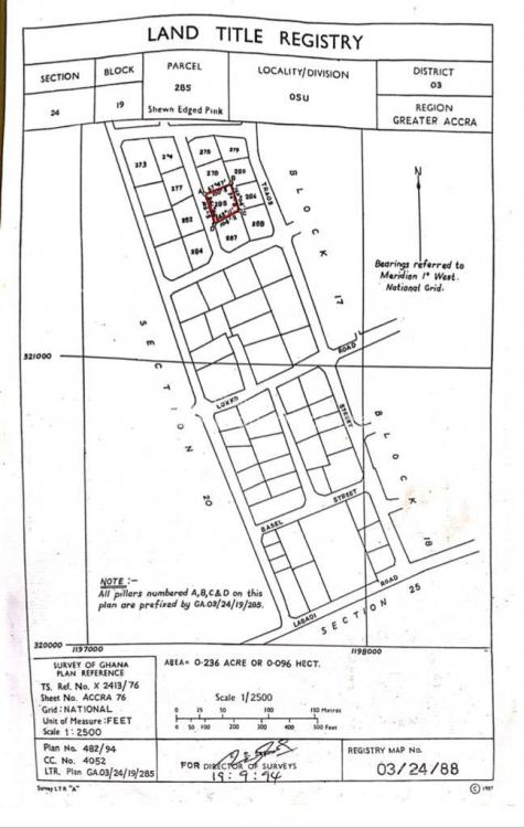 Old Property on 1plot of Title Land Fence Walled at Osu, Osu, Accra, Townhouse for Sale